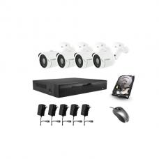 Per elektros laidus veikiantis 4 IP kamerų FULL HD 1080p vaizdo stebėjimo komplektas Longse PLC2004PD2S200 + DOVANA 1TB diskas