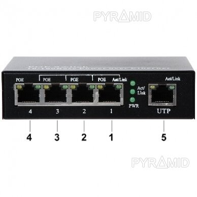 Tinklo šakotuvas 10/100Mbps 5 jungtys, 4xPOE 2