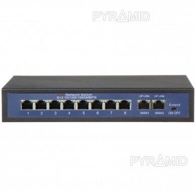 Tinklo šakotuvas 10/100MBps 8 jungtys POE + 2 jungtys 10/100/1000MBps (HT812)