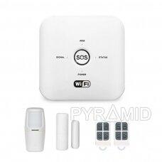 WIFI+GSM signalizacijos komplektas WALE PR-JT-10GDT su belaidžiais davikliais, SmartLife programėlė