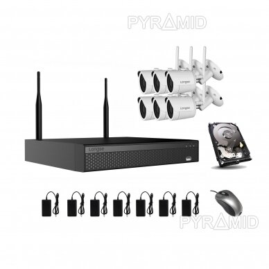 2Mp WIFI IP kamerų vaizdo stebėjimo komplektas Longse 1-8 kameros 24