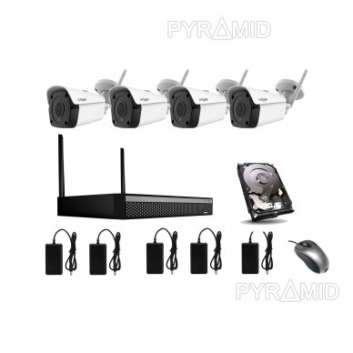 5Mp WIFI kamerų vaizdo stebėjimo komplektas Longse 1-4 kameros, 5Mp, 3,6mm 9